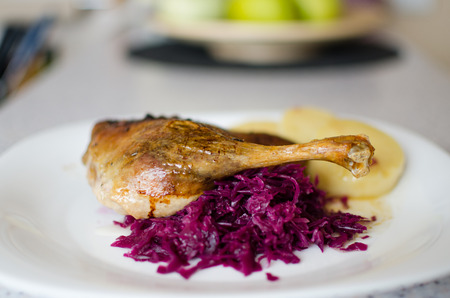 goose flesh: Duck with cabbage and dumplings, baked duck leg, baked duck with  red cabbage - shallow of depth