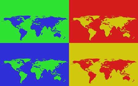 illustrated globe: Set of four colorful world maps on bright colored backgrounds