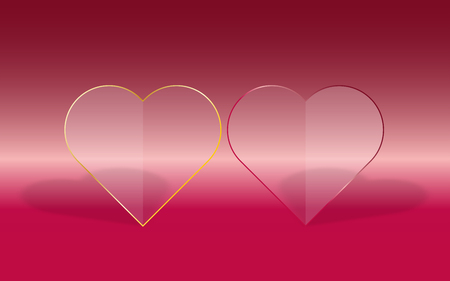 dropped: Two transparent hearts with glass fill and red or gold frame on pink gradient background with dropped shadow Illustration