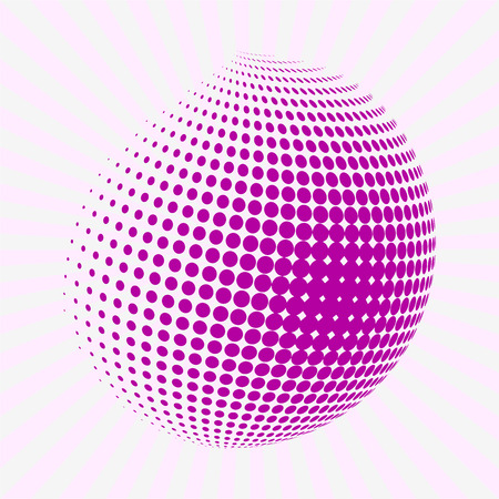 half tone: Halftone pink circle. Half tone circle. Rounded pink half tone shape on background with sun burst. Background with sun rays. Illustration