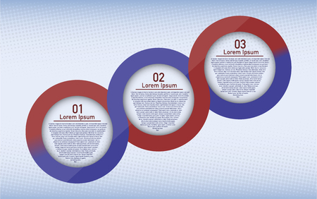 half tone: Three steps circular infographic. Three steps rounded connected infographic. Infographic with place for text Half tone background effect.