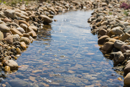 rill: Small calm stream. Stream surrounded by rocks. Soft focus. Small river close up. Stones and rocks with stream. Stock Photo