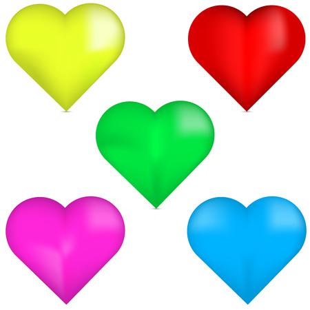 corazones azules: 3D corazón rojo, amarillo 3D del corazón, corazón verde 3D, corazón rosado 3D, 3D corazón azul. Conjunto de corazones de colores en 3D. Corazones de colores aislados sobre fondo blanco. Conjunto de corazones hermosos. Vectores