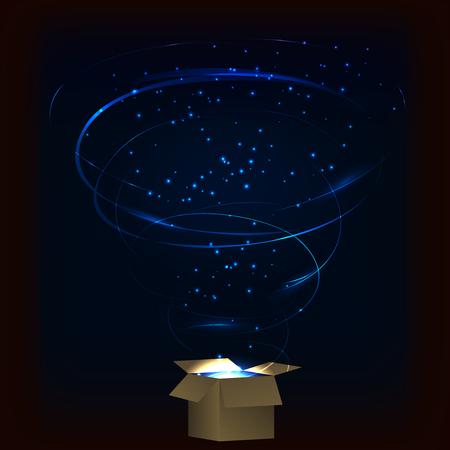 Boite magique. Magic box avec feux d'artifice de tornade. Magic box avec une explosion de plasma circulaire. Magic box avec des étincelles. Boîte pleine de magie bleue. Sort de boîte magique. boîte magique Charme.