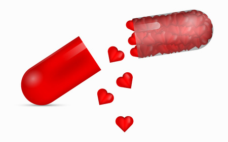 red pill: Red transparent pill full of glossy 3D hearts. 3D pill with falling red hearts. Halved pill full of beautifuil hearts. Love pill. Pill to heal broken heart. 3D medical pill with bunch of red hearts. Illustration