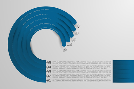 moder: Five steps origami style timeline infographics with outline icons. Circular infographic in blue colors. Moder business infographics with 5 steps.