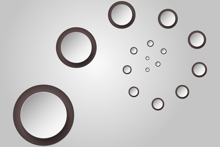decreasing in size: Abstract background with 3D circles in spiral or twist with decreasing size and own shadows that can be used as wallpaper, infographics element or backdrop.
