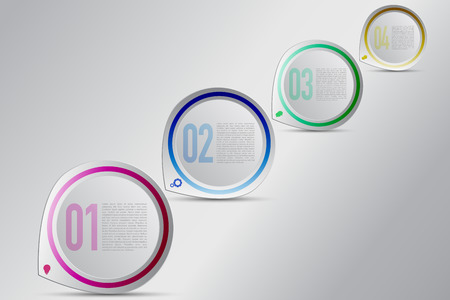 coin box: Four steps circular infographics with decreasing size. Modern 4 steps timeline infographic in rounded colored pointer shape with bulb, gear, chat box and coin icons. Modern business diagram. Illustration