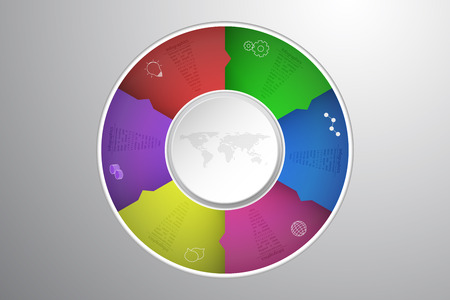 Six steps rounded infographics with 3D circle, dotted world map and outline icons embossed to gray gradient background. 6 steps infographic timeline in circular shape with arrows. Modern six steps infographics.
