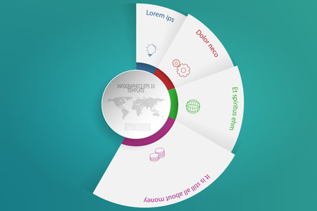 four objects: Four steps rounded infographics with 3D objects, outline icons and dotted world map. 4 steps circular infographic timeline with white circle in modern layout on green gradient background. Business diagram presentation.