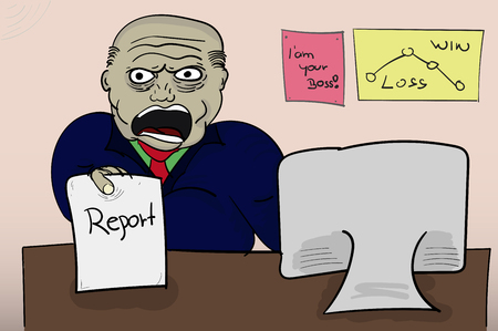 yelling: Illustrated angry boss holding report. Yelling (screaming) angry boss with paper in hand sitting behind the table with pictures on wall and computer. Cartoon style illustration. Illustration