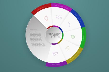 mapa de procesos: Seis pasos Linea de tiempo infografía de negocio que pueden representar proceso o flujo de trabajo con los iconos de contorno en colores modernos. 6 pasos modernos infografía con sombra caído, círculo 3D y mapa del mundo con puntos. Vectores