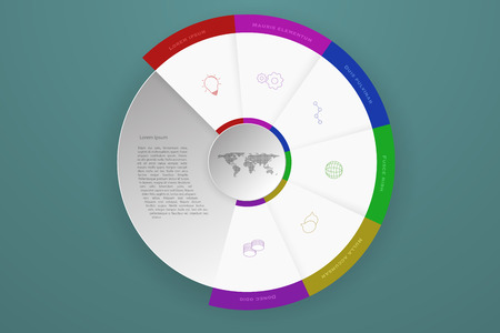 mapa de procesos: Six steps timeline business infographics that can represent process or workflow with outline icons in modern colors. Modern 6 steps infographics with dropped shadow, 3D circle and dotted world map.