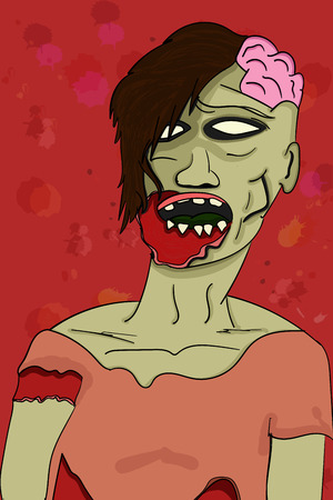 visible: Creepy grey illustrated colorful zombie in cartoon style with visible green brain, bloody injury and empty eyes on bloody red background with splashes, shadows and drops.
