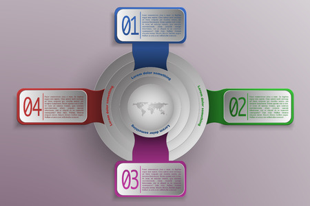 mapa de procesos: 4 steps timeline and business infographics in modern colors and style with world map or globe in center. 3D rounded and rectanhle objects as timeline infographic with shadows representing process, diagram, options or chart.
