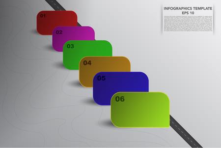 objetos cuadrados: Seis pasos infografía 3D de línea de tiempo con los objetos cuadrados en varios colores y sombras propias. 6 pasos infográficas de negocios con la carretera, 6 banners 3d y líneas dibujadas a mano sobre fondo gris degradado.