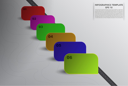 six objects: Six steps timeline infographics with 3D square objects in various colors and own shadows. 6 steps business infographic with road, 6 3d banners and hand drawn lines on grey gradient backdrop.