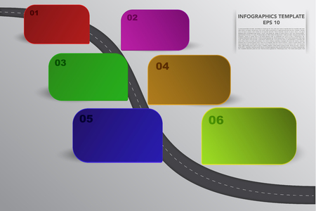 six objects: Six steps timeline infographics with 3D rectangle objects in various colors and own shadows. 6 steps business infographic with curvy road, 6 3d  and lines on grey gradient backdrop. Illustration