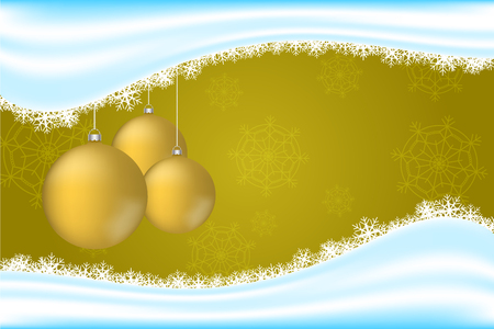 Christmas backdrop with snowflakes, snow wave and three gold or yellow christmas balls decoration. Golden background with realistic rounded christmas decoration. Illustration