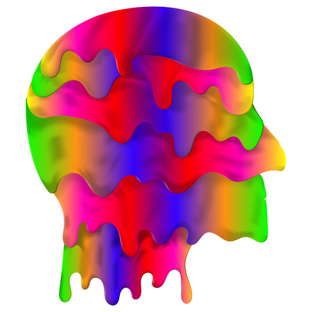 spectre: Liquify head vector. Dripping fluid in form of head in full color spectre. Abstract logo profile shaped element. Illustration