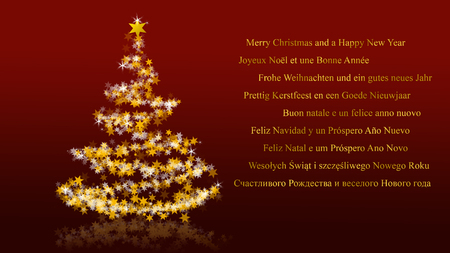 Christmas tree with glittering stars on red background with seasons greetings, multilingual version; Part of a multilingual series