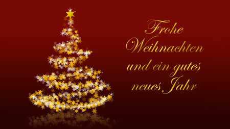 Christmas tree with glittering stars on red background with seasons greetings, german version; part of a multilingual series Stock Photo
