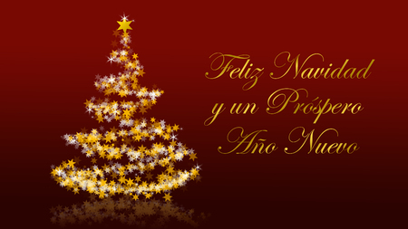 Christmas tree with glittering stars on red background with seasons greetings, spanish version; part of a multilingual series Stock Photo