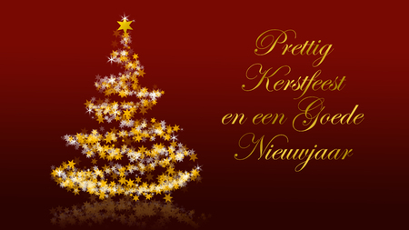 Christmas tree with glittering stars on red background with seasons greetings, dutch version; part of a multilingual series