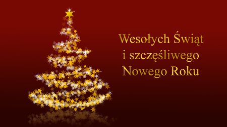 Christmas tree with glittering stars on red background with seasons greetings, polish version; part of a multilingual series