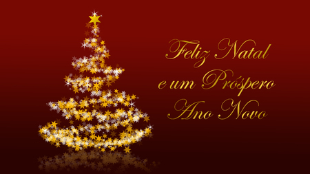 Christmas tree with glittering stars on red background with seasons greetings, portuguese version; part of a multilingual series