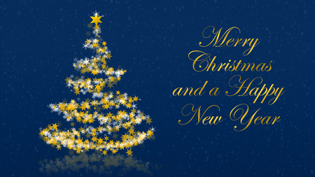 Christmas tree with glittering stars on blue background with seasons greetings, english version; part of a multilingual series