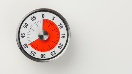 Minuterie compte à rebours de cuisine analogique vintage avec cadran d'horloge classique et affichage de l'heure restante rouge, 40 minutes restantes Banque d'images - 81494101