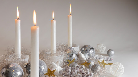 festive christmas decoration with four candlelights glitter balls and sparing angel hair close - Angel Hair Christmas Decoration