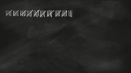Five series tally sheet chalk lettering with 48 lines jotted on a black vintage chalkboard; wide copy space with no people