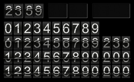 Black flip clock template with numbers in different flip-flops for individual setup and composing as number or time scoreboard with white numbers on black background 스톡 콘텐츠