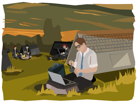 computing digital nomads camping outdoors in business suits doing their 24/7 work in front of their symbolic oversized laptop sleeping places while preparing some food alongside, concept illustration series Stock Photo