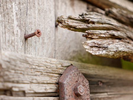 Strongly weathered detail of a wooden barn on an old desolate farming shack with rusty fittings, close-up shot on location with selective focus