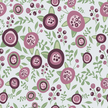 spa collage: Vector seamless vintage flowers pattern
