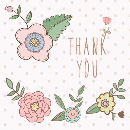 Thank you card. floral with text and flowers Vector