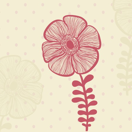 Hand drawing floral background with polka dot Vector