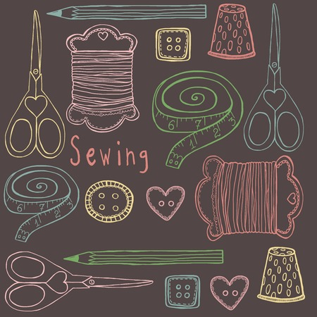 Sewing vector object hand drawing