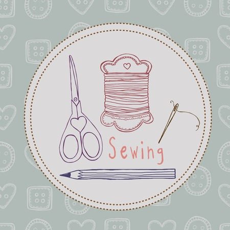 sewing vector seamless pattern Vector