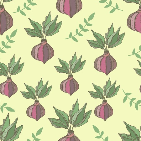 Radish seamless pattern. Hand drawn illustration vegetable