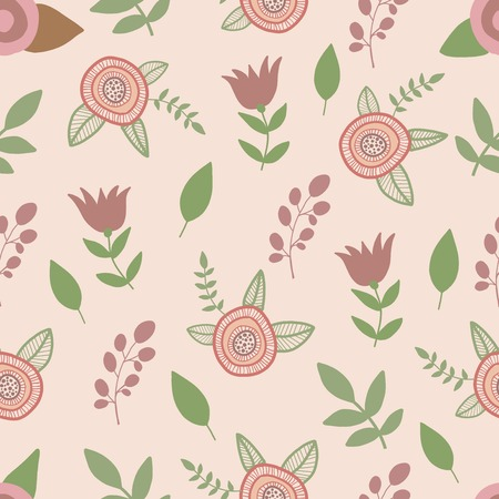 Spring flowers seamless pattern. Hand drawn vector Vector