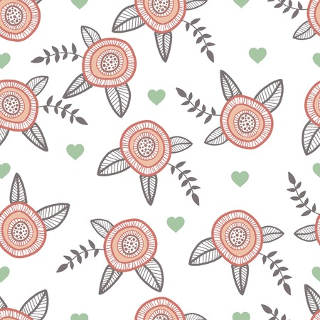 catoon: Graphic hand drawn flowers. Catoon style illustration with hearts