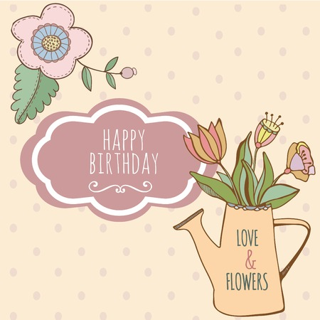 Watering can with hand drawn colorful flowers. Cute card happy birthday Vector