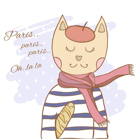 french fancy: French parisian cat hand drawn illustration