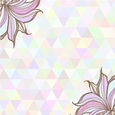 Hand drawn illustration with ornament  with triangles backdrop. Graphic colorful pastel color flowers frame. Vector