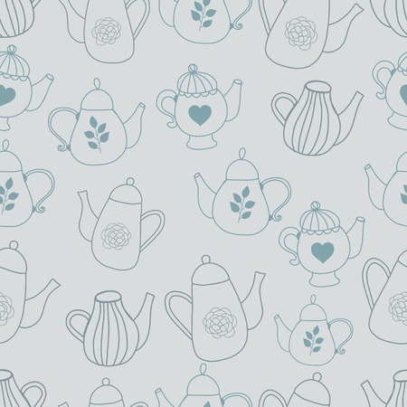 Teapot seamles pattern hand drawn style silhuette Vector