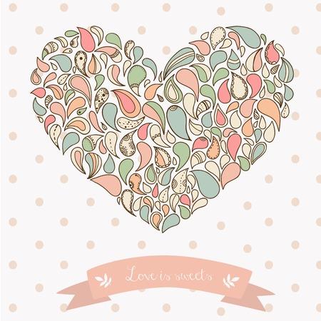 Turkish cucumber ornament heart. Hand drawn Vector